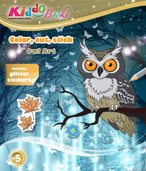 6015  Owl Art-With glitter stickers