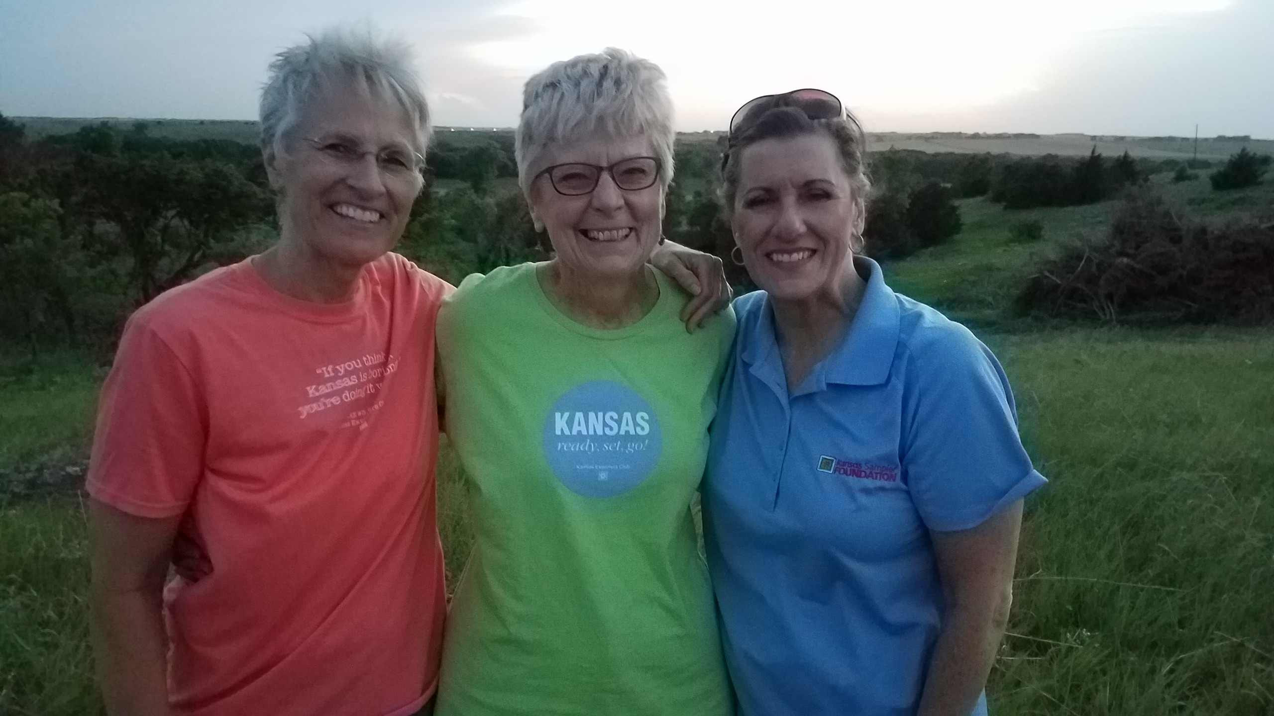 Susie Haver, Cloud County Tourism Director, hosted the viewing at her home. The evening's guests included Marci Penner and WenDee Rowe with the Kansas Sampler Foundation.