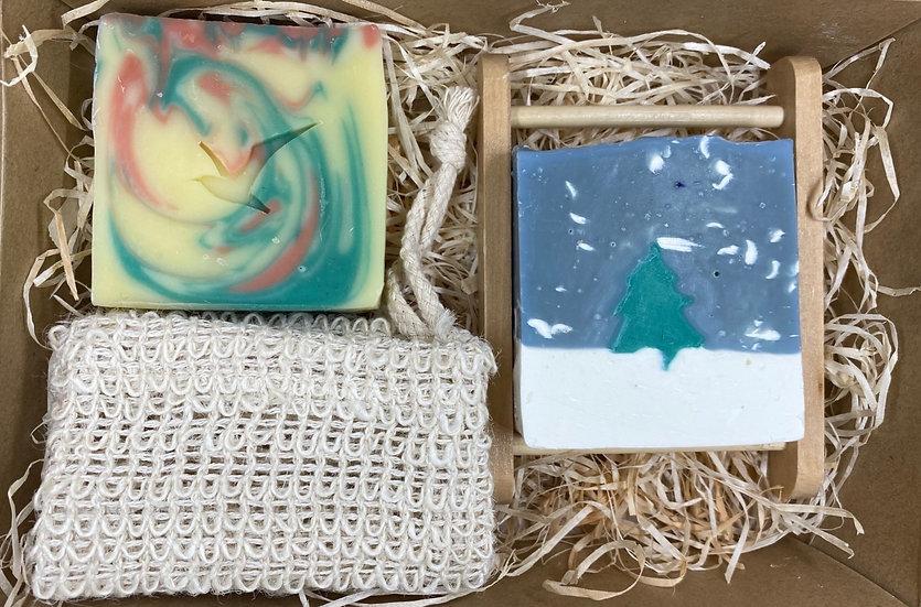 TWO SOAP BAR GIFT SET - WINTER PINE & WINTER SWIRL