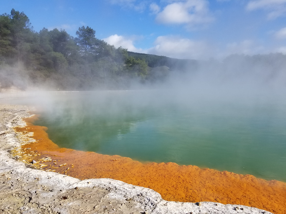 Champagne pool in Wai-O-Tapu, group tour to New Zealand