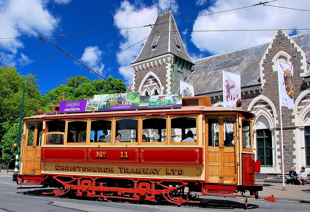 Трамвай в Крайстчёрче, Новая Зеландия. Туры в Новую Зеландию. Гид в Новой Зеландии.