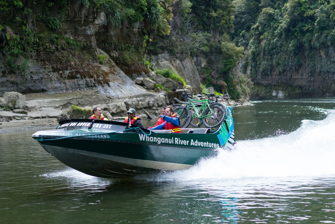 Jet boat riding in Whanganui National Park New Zealand