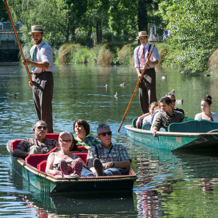 Christchurch Punting on the river Avon. Shared ride.
