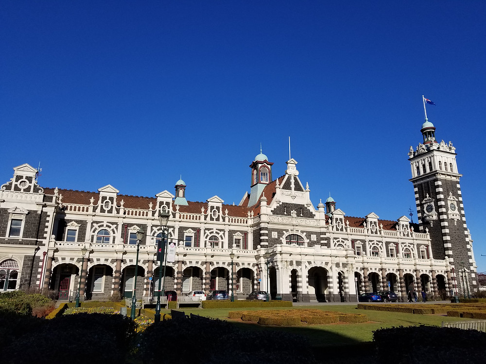 Dunedin railway station, group tour to New Zealand