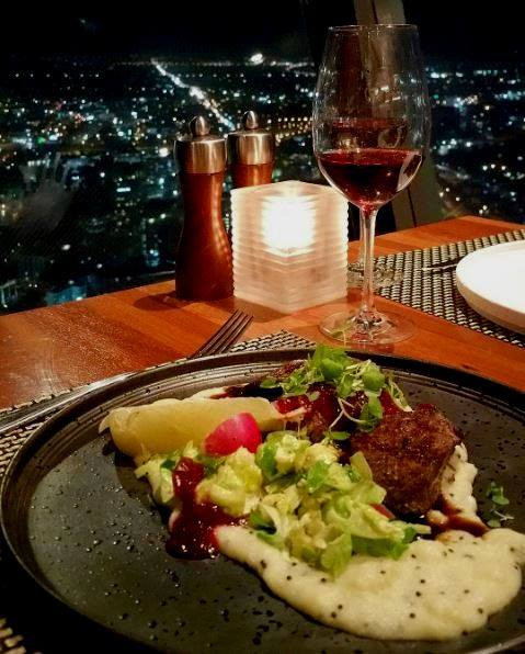 Delicious dinner at the single revolving restaurant in New Zealand
