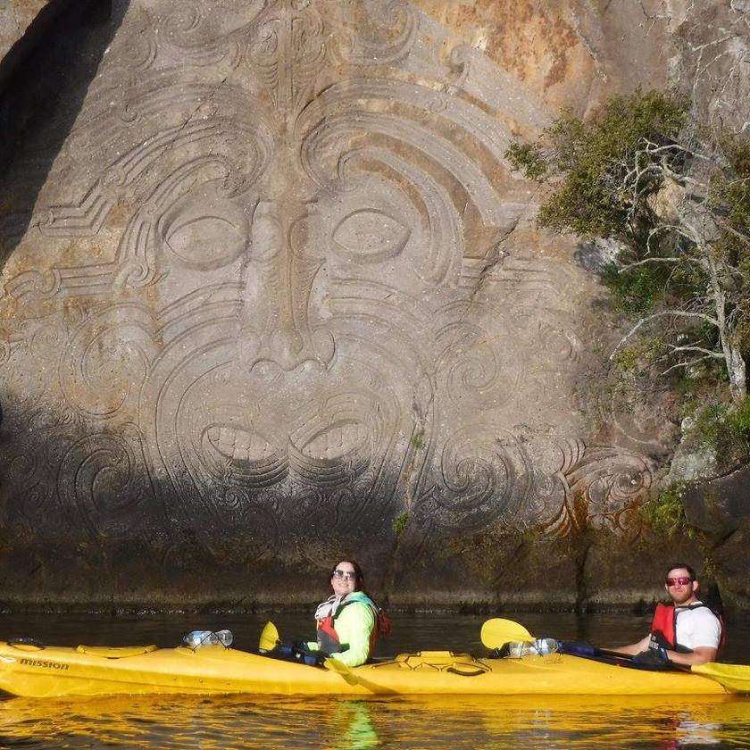 Kayaking Maori Carvings Tour, Taupo. Half Day