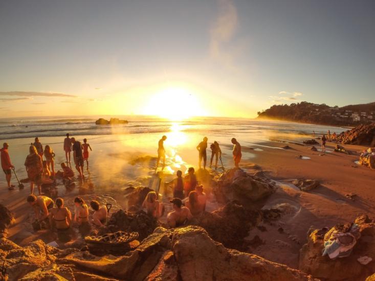 Hot Water Beach on Coromandel peninsula New Zealand