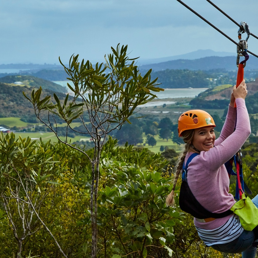 Zipline on Waiheke island, New Zealand activities, tours of New Zealand
