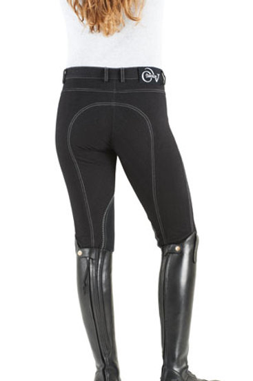 Ovation SoftFLEX Zip Front Classic Knee Patch Breeches - Ladies' BLK