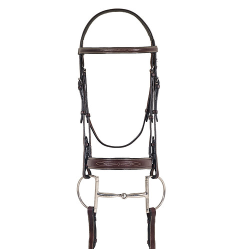 Ovation Elite Fancy Comfort Crown Flat Wide Nose Padded Bridle, Laced Reins
