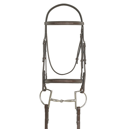 Ovation Elite: Raised TradnlCrown Padded Bridle;Raised Fancy Laced Reins