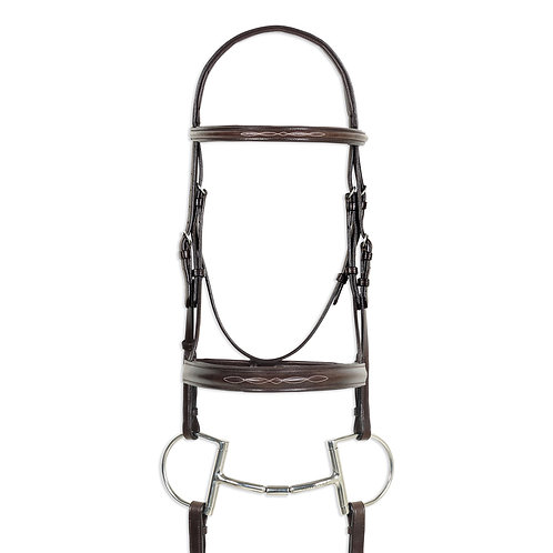 Ovation Classic: Wide Nose Comfort Crown Padded Bridle w/Laced Reins