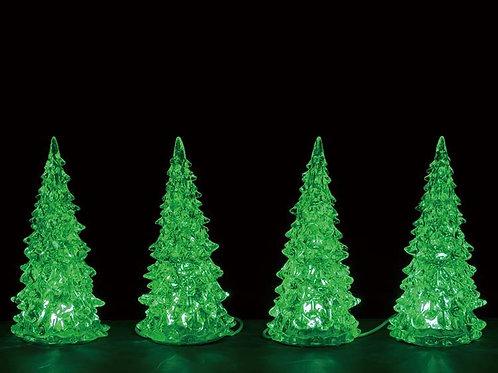 Crystal lighted tree set de 4