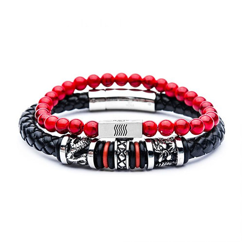 Red howlite bread stretch bracelet and black leather bracelet with steel and red o-ring bracelet set. Stackable bracelets.