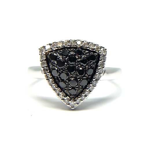 14K white gold ring with black and white diamonds in shield shape. Triangle shaped black diamond ring. Trillion black diamond