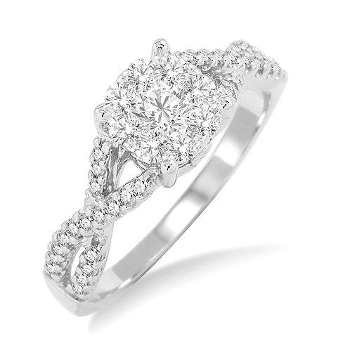 14K white gold twisted shank engagement ring. Twisted style engagement ring. Twisted band. White gold diamond engagement ring
