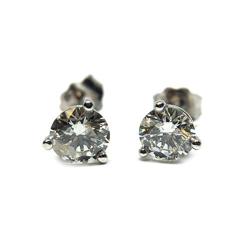 14K white gold and lab grown diamond studs. Diamond stud earrings. White gold diamond earrings. White gold stud earrings.