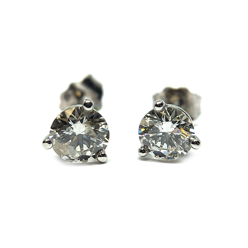 14k White Gold And Lab Grown Diamond Studs Stud Earrings