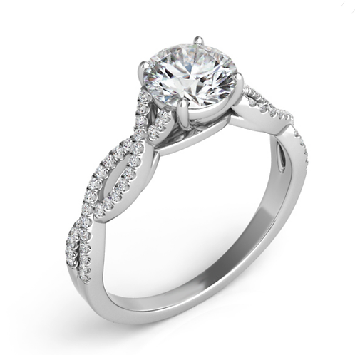 14K white gold and diamond engagement ring with cathedral design and twisted shank. Braided shank. Negative space. White gold