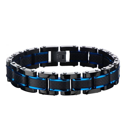 Men's black stainless steel bracelet with carbon fiber inlay and blue plated accents.