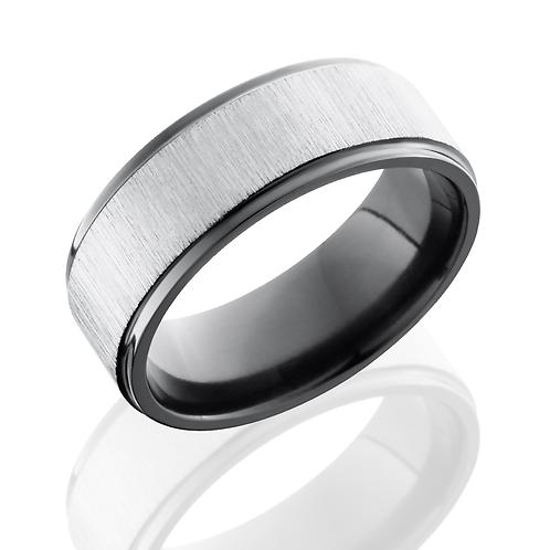 Zirconium men's wedding band with silver cross satin center finish and black polished edges. Black wedding ring. Men's black.