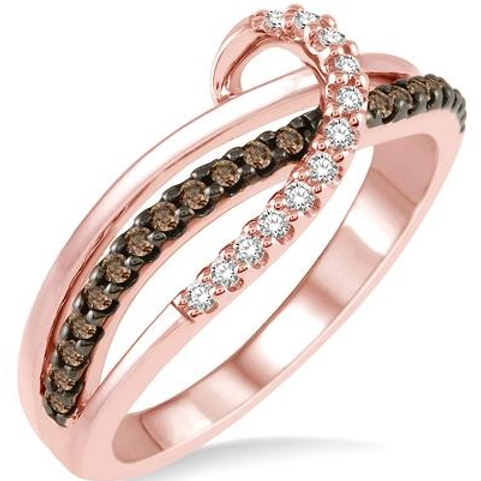 Rose gold and chocolate diamond ring. Brown diamonds. Chocolate and white diamonds. Rose gold band. Triple layer ring. Wave.