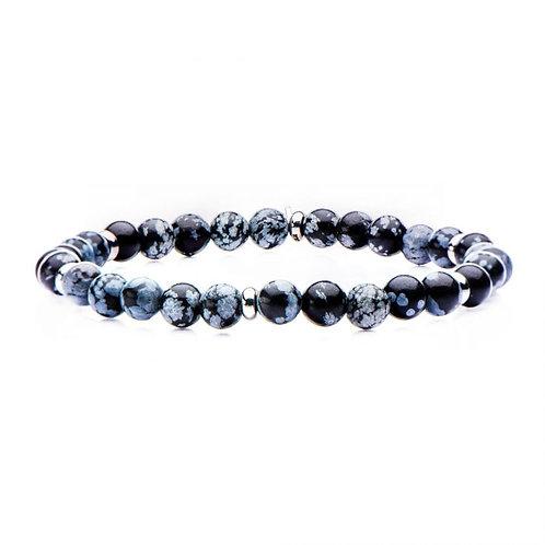 Men's snowflake stone stretch bracelet with stainless steel accent beads. Stretch bracelet. Men's bead bracelet. Beaded stone