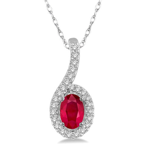 10K white gold pendant with oval shaped ruby and diamond halo. Diamond pendant. Ruby pendant. Necklace. Red stone. Diamonds