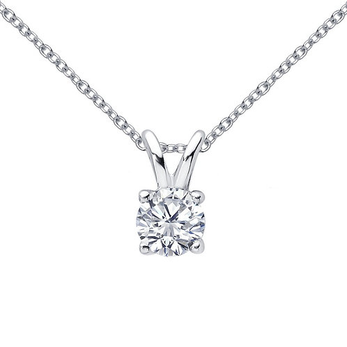 Simulated diamond solitaire pendant and chain. Classic solitaire pendant.