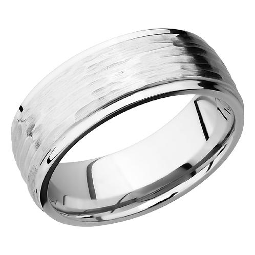 Men's cobalt chrome wedding band with horizontal tree bark pattern. Treebark ring. Men's tree bark etched ring. Men's band.