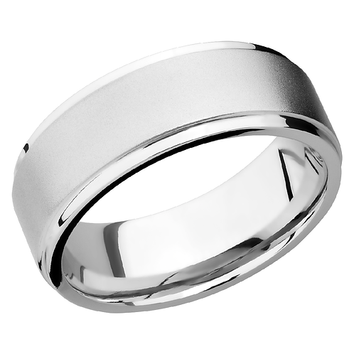 Men's cobalt chrome wedding band with beadblast soft finish and polished grooved edges. Soft finished men's ring. Men's band.