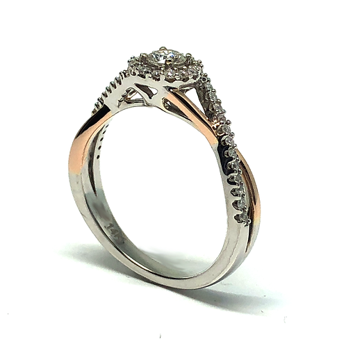 14K white and rios gold two tone cathedral style twisted shank diamond accented engagement ring. Diamond halo engagement ring