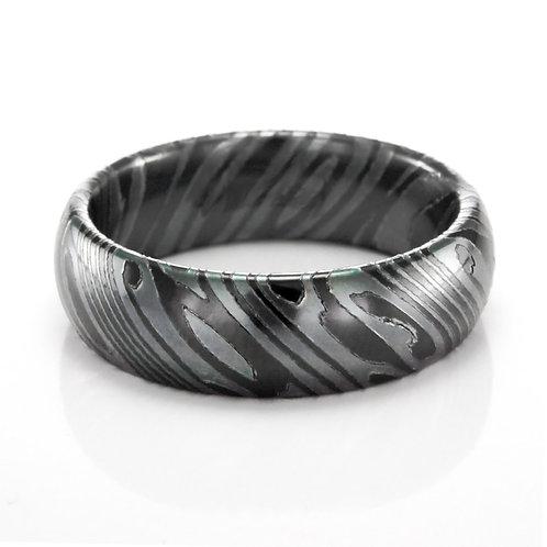 Men's black titanium mokume gane style wedding band. Men's domed wedding band. Men's polished wedding ring. Men's black ring.