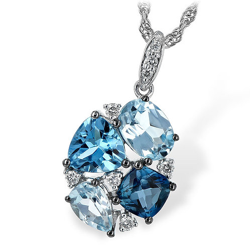 14K white gold pendant with diamonds swiss blue topaz, sky blue topaz and London blue topaz. Mixed shapes. Trillion cushion.