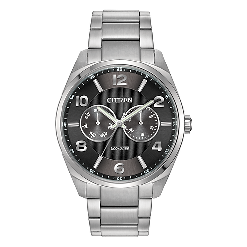 Men's stainless steel Citizen Eco-Drive watch with analog day-date window. Day date feature with analog dials. Eco-drive.