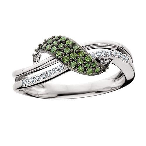 10K white gold ring with white diamonds and green diamonds. Green diamond wave ring. Emerald green diamonds. Black rhodium.