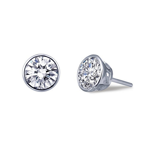 Bezel set simulated diamond stud earrings. Diamond studs. Bezel studs. Platinum plated sterling silver stud earrings. Studs.