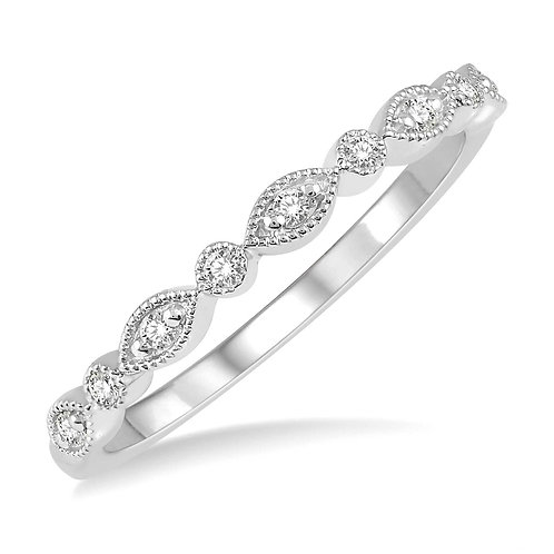 14K White Gold and .10cttw Diamond Prong and Bezel Antique Style Stackable Ring