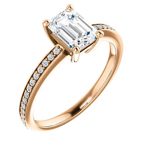 14K rose gold and diamond engagement ring with emerald cut diamond center stone. Emerald cut engagement ring. Emerald diamond