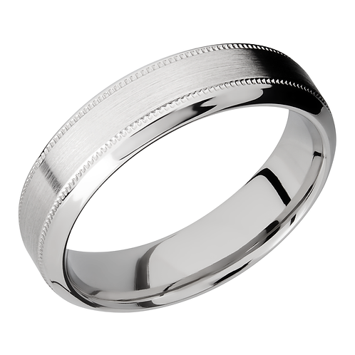 Men's cobalt wedding band with high beveled edges and millgrained details. Millgrain stripe. Satin ring with polished edges.