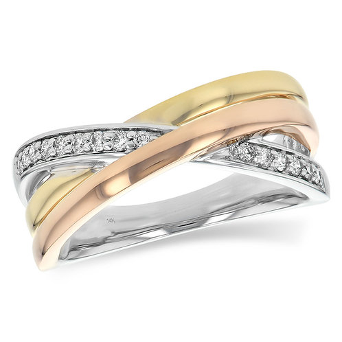 14K tri-tone white yellow and rose gold anniversary ring with diamonds. Woven gold ring. Three tone ring. 3-tone ring. Gold.