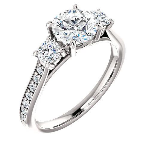 14K white gold diamond three stone engagement ring. Past present and future ring. Diamond engagement ring. Diamond ring. Gold