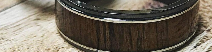 Men's Zirconium Wedding Band with Cocobollo Wood and Polished Silver Inlays