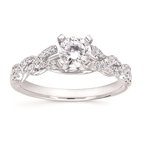 14K white gold twisted style cathedral engagement ring. Engagement ring with twisted band. Woven band. White gold diamond.