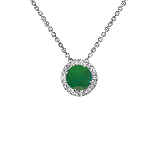 Platinum plated sterling silver pendant with simulated diamond and simulated emerald stones. Halo. May birthstone. Birthstone