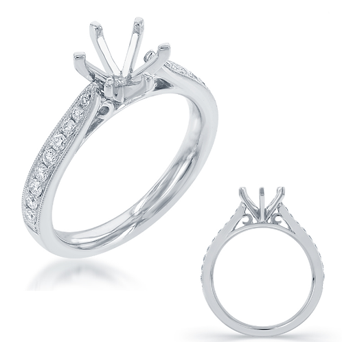 14K white gold engagement ring with channel set diamond accented band and cathedral design. White gold engagement ring. Ring.