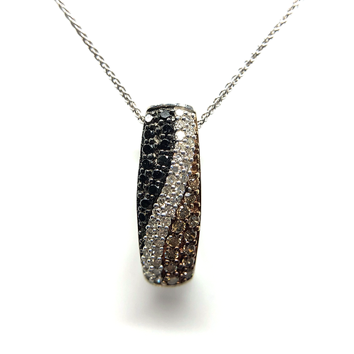 14K white gold slide pendant with white diamonds, black diamonds and champagne diamonds. Chocolate. Brown diamonds. Pave set.