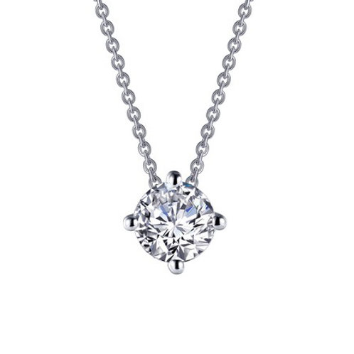 Sterling silver solitaire simulated diamond pendant on platinum plated sterling silver adjustable rope chain with adjuster.