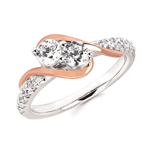 Two tone white and rose gold two stone ring with accent diamonds. Two stone engagement ring. 2 stone anniversary ring. 2Us.
