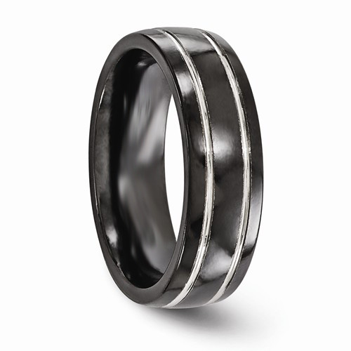 Mens Black Anium Wedding Band Domed